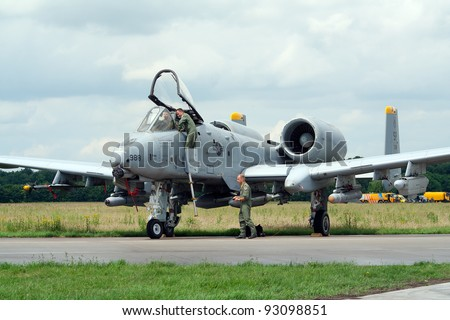 VOLKEL, NETHERLANDS - JUNE 16: USAF A-10A THUNDERBOLT on display Royal Netherlands Air Force Days on June 16, 2007 in Volkel, Netherlands.
