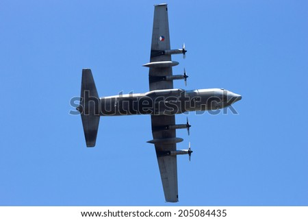 VOLKEL, THE NETHERLANDS - JUNE 15: Dutch Air Force C-130 Hercules transport plane at the Dutch Air Force Open Day on June 15, 2013 in Volkel, The Netherlands