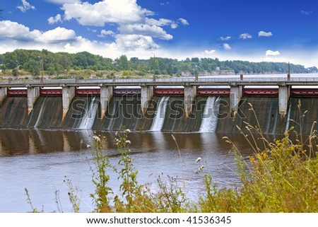 Volkhov HYDROELECTRIC POWER station-hydro power station on river Volkhov, Russia - stock photo