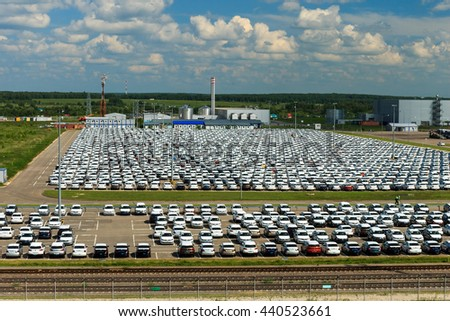 Volkswagen - JUNE 16, 2016: New cars parked at distribution center, automobile factory