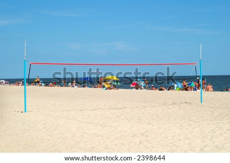 Volley ball net on the beach - stock photo