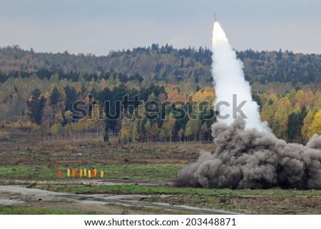 Volley heavy surface-to-surface multiple rocket launcher with cluster munition - stock photo