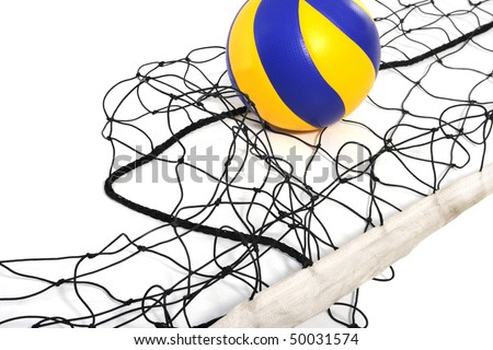 Volleyball ball and volleyball net ?n the white background - stock photo