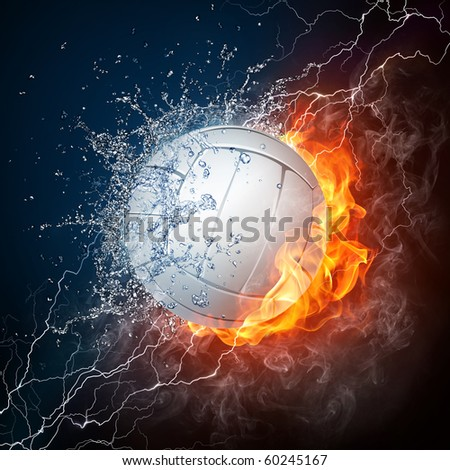 Volleyball Ball in Fire and Water on Black Background - stock photo