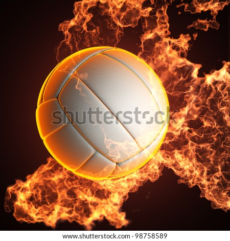 Volleyball ball in fire made in 3D - stock photo