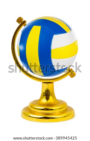 Volleyball ball like a globe isolated on white background - stock photo