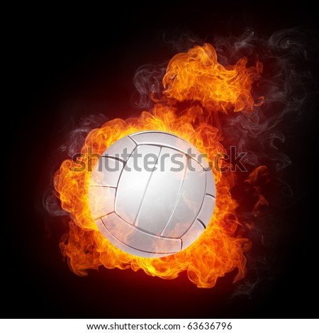 Volleyball Ball on Fire. Computer Graphics. - stock photo