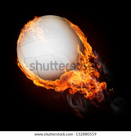 Volleyball ball on fire flying up - illustration - stock photo