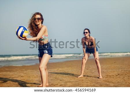 Volleyball Beach Women Summer Playful Friends Concept - stock photo