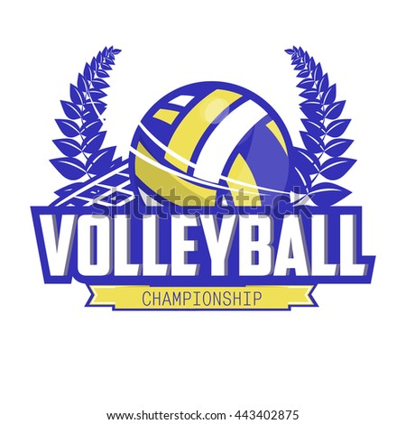 Volleyball championship logo with ball. - stock photo