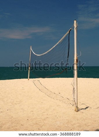 Volleyball court on the beach, Malaysia - stock photo
