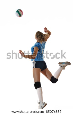 volleyball game sport with neautoful young girl oslated onver white background - stock photo