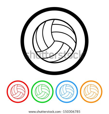 Volleyball Icon with Color Variations.  Raster version - stock photo