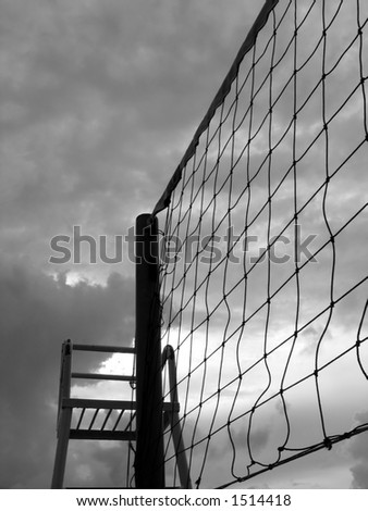 Volleyball Net and Referee Chair -- seen against a dramatic sky