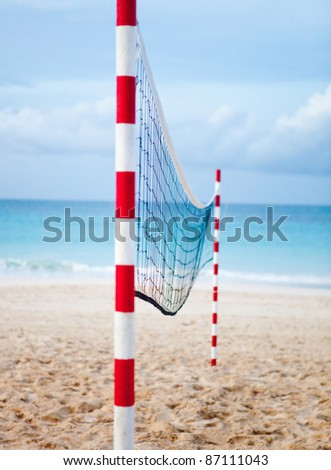 Volleyball net at the beach, sports concepts - stock photo