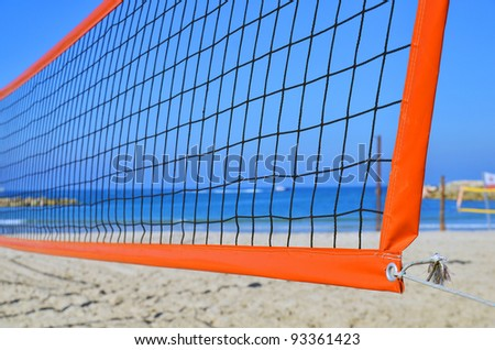 volleyball net on a beach in Tel Aviv, Israel - stock photo