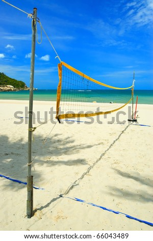 Volleyball net on the tropical beach. - stock photo