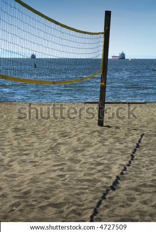 Volleyball net set up on a beautiful beach, Vancouver, BC