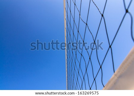 Volleyball net with  blue sky for background design