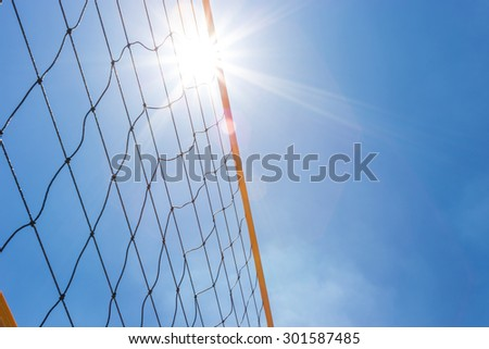 volleyball net with clear sky - stock photo
