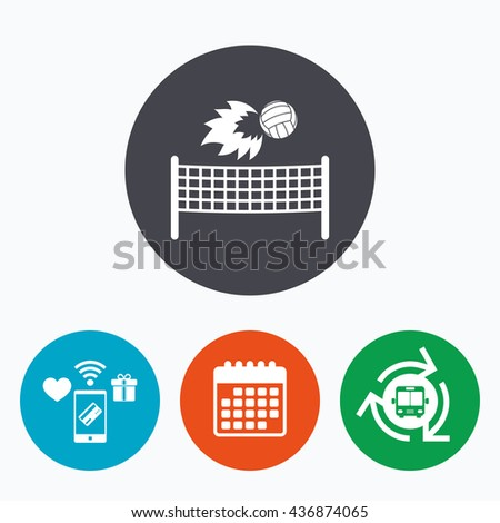 Volleyball net with fireball sign icon. Beach sport symbol. Mobile payments, calendar and wifi icons. Bus shuttle. - stock photo