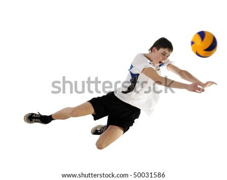 Volleyball player in high flying with a ball ?n the white background - stock photo