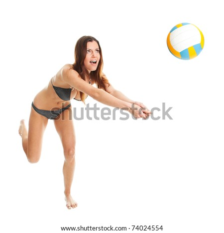 Volleyball player woman in swimwear - stock photo