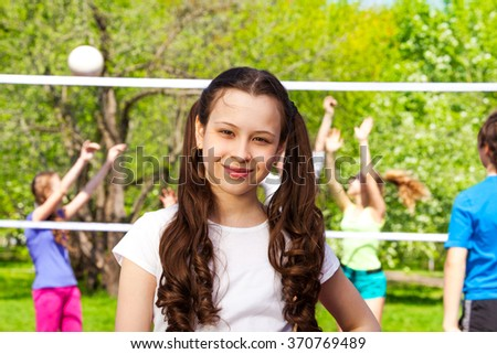 Volleyball portrait and kids playing on background - stock photo