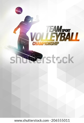 Volleyball sport invitation advert background with empty space - stock photo