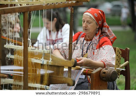 Vologda, RUSSIA �¢?? July 4: Portraits of people at the street festival of folk art in Russiaon July 4, 2015, in Vologda, Russia