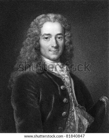 Voltaire (1694-1778). Engraved by J. Mollison and published in The Gallery Of Portraits With Memoirs encyclopedia, United Kingdom, 1833. - stock photo
