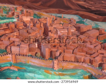 Volterra, Italian medieval town - wooden model of the town - stock photo