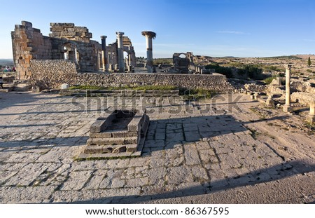 Volubilis features the best preserved Roman ruins in this part of northern Africa. Square in front of the temple.