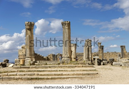 Volubilis is a partly excavated Roman city in Morocco situated near Meknes between Fes and Rabat. It was developed from the 3rd century BC onwards as a Phoenician Carthaginian settlement - stock photo