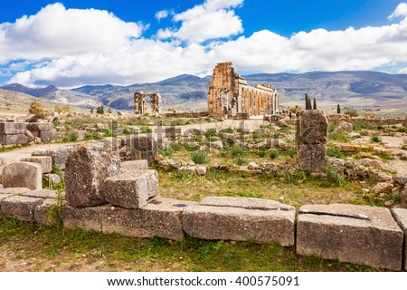 Volubilis near Meknes in Morocco. Volubilis is a ruined Amazigh, then Roman city in Morocco near Meknes, UNESCO World Heritage Site. - stock photo