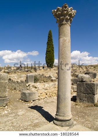 Volubilis Roman old city, Morocco, and it is declared a UNESCO World Heritage site. - stock photo