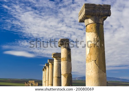 Volubilis, roman ruins near city of Fes in Morocco