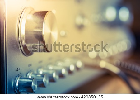 volume control knob of vintage hi-fi amplifier - stock photo