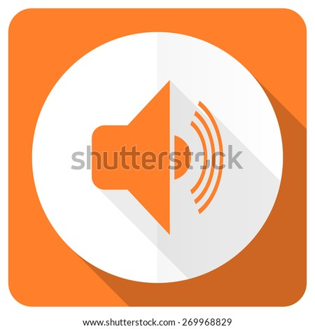 volume orange flat icon music sign  - stock photo