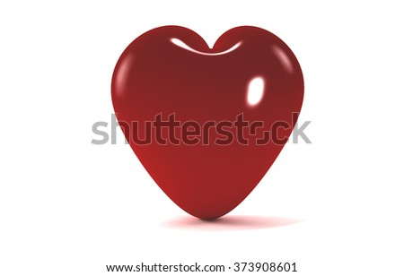 volume red heart on a white background with a beautiful reflection and a soft shadow for Valentine's Day - stock photo