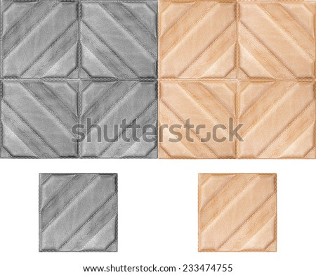 Volume tile with texture of skin for dressing of an interior. A tile with board drawing on a white background, nobody. - stock photo