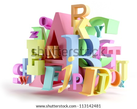 Volumetric colorful letters on white background - stock photo