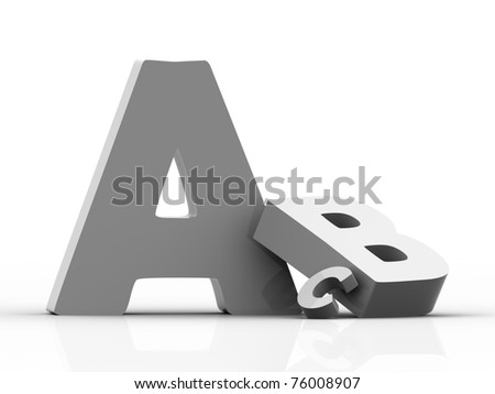 Volumetric letters of the alphabet on a white background - stock photo