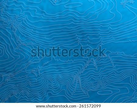 Volumetric topographic isolines background, 3D computer generated - stock photo