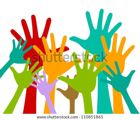 Volunteer and Voting Concept Present With Colorful Raised Hands Isolated On White Background - stock photo