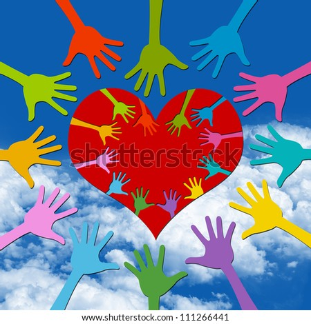 Volunteer Campaign Present By Colorful Hand Around and Inside Red Heart in Blue Sky Background - stock photo