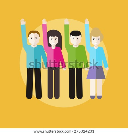 Volunteer group raising hands against. Concept in flat design style. Can be used for web banners, marketing and promotional materials, presentation templates. Raster version - stock photo