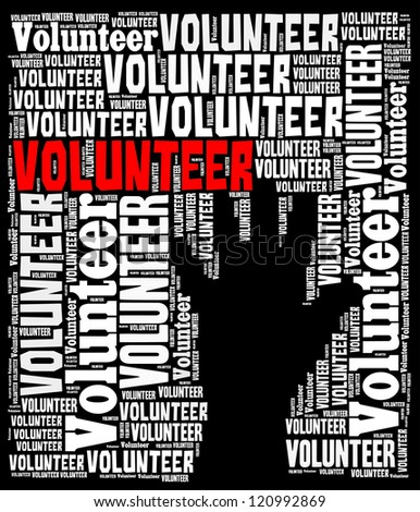 Volunteer info-text graphics arrangement concept on black background - stock photo