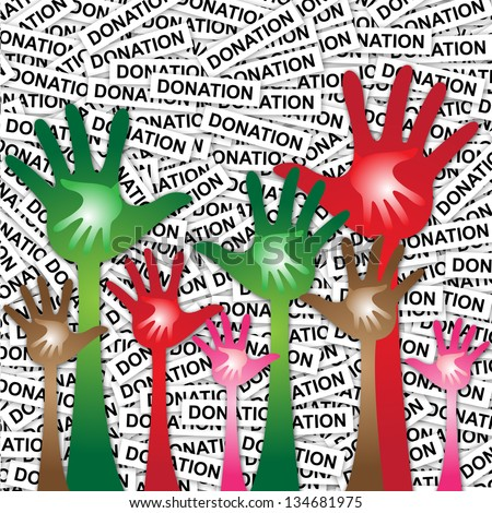 Volunteer Or Family Concept Present By Colorful Adult Hand With Colorful Child Hand Inside in Donation Label Background - stock photo