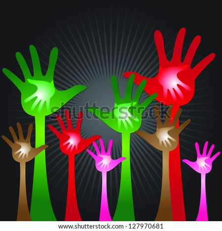 Volunteer Or Family Concept Present By Colorful Adult Hand With Colorful Child Hand Inside in Black Shiny Background - stock photo